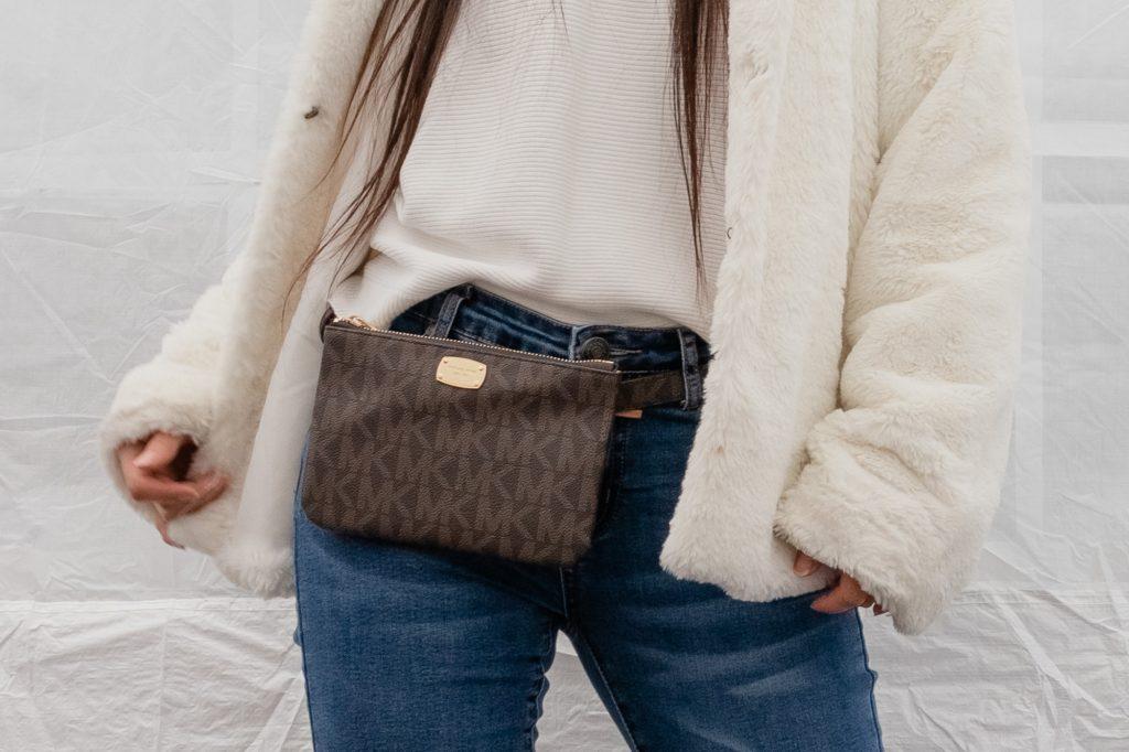 Winter Outfit Idea Ankle Boots Jeans Faux Fur Jacket Michael Kors Fanny Detail Closeup