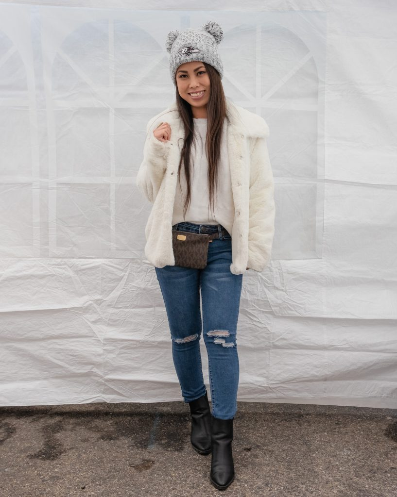 Winter Outfit Idea Ankle Boots Jeans Faux Fur Jacket Michael Kors Fanny